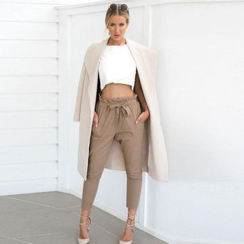 Fashion Casual Women Ladies Pants Chiffon Skinny Long Length High Waist Pencil Pants Stretch Trousers Black Red Khaki