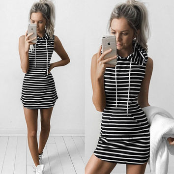 Black Striped Drawstring Hoodie Shift Dress