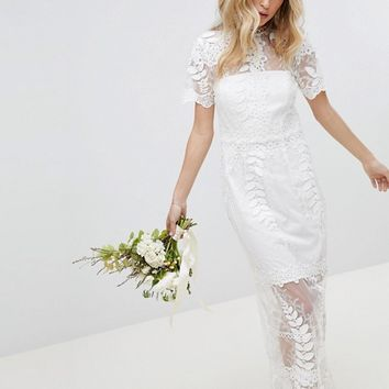 ASOS EDITION Corded Lace Maxi Wedding Dress with Scallop Hem at asos.com