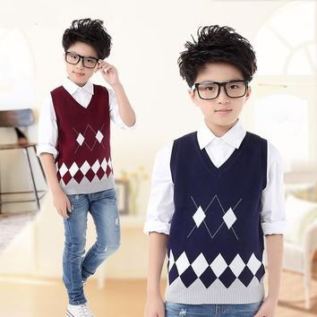 Boys Clothes 2015 Children's Cotton Knit Sweater Vest Spring Autumn Knitting Wool Diamond Pattern Waistcoat