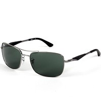Ray-Ban Silver Sunglasses Green Lenses RB3515 004/71 - Brand New RayBan Men