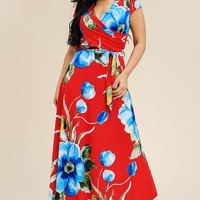 Floral Surplice Maxi Dress (Red)