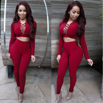 Elegant Two Piece Rompers Womens Jumpsuit Sexy V Neck Tie Up Long Sleeve Bodysuit Night Club Wear Bodycon Jumpsuits Overalls