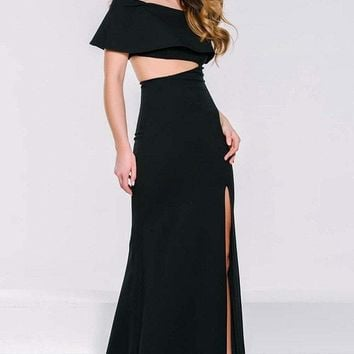 Jovani - 36631 Off Shoulder Cut Out Detail Fitted Long Evening Dress