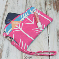 Pink and Teal Arrow Style Phone Wallet, Pink Phone Wristlet, Cell Phone Clutch