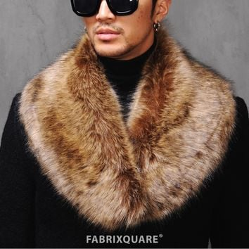 Mens Rich Fur Big Lapel Scarf - restock at Fabrixquare
