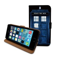 "Beanbeancase Tardis door doctor who flip pu leather cover case for iPhone 6, 6 plus, iPhone 5C 5S 5 4 4S (K19) (iPhone 6 Plus (5.5""))"