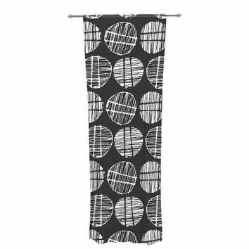 "Gill Eggleston ""Sketched Pods Carbon"" Black White Abstract Modern Digital Vector Decorative Sheer Curtain"