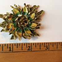 Vintage Costume Jewelry Yellow and Green Flower Gold Toned Brooch Pin
