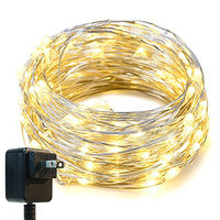 String Lights,Oak Leaf 33ft LED Starry Lights With UL Certified 3V Power Adapter For Seasonal Decorative Christmas Holiday Wedding Parties Home Bedroom,Warm White 100 Leds
