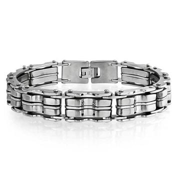 Heavy Bicycle Chain Bike Link Men Bracelet Silver Tone Stainless Steel