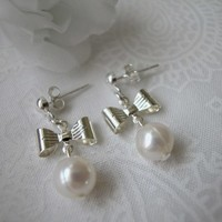 Silver Bows and Freshwater Pearls Sterling Silver Post Dangle Earrings