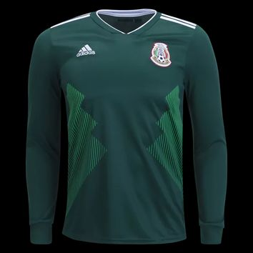 KUYOU Mexico 2018 World Cup Home Men Long Sleeve Soccer Jersey Personalized Name and Number