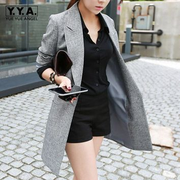 2017 New Fashion Womens Ladies Gray OL Blazer Suit Long Sleeve Lapel Jacket Spring Outwear Long Blazers Plus Size