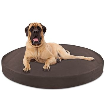 Dog Bed Round Deluxe Orthopedic Memory Foam Extra Large - Brown