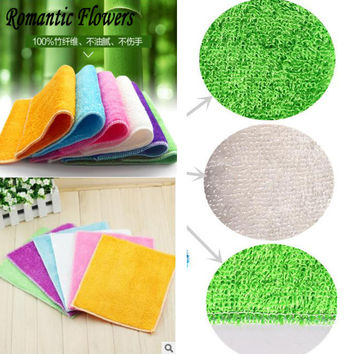 1pc High Efficient Anti-grease Color Dish Cloth Bamboo Fiber Washing Towel Magic Kitchen Cleaning Wiping Rags