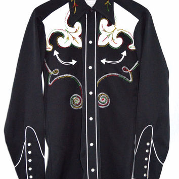Vintage 40s H BAR C California Ranchwear Embroidered Rockabilly Western Cowboy Shirt