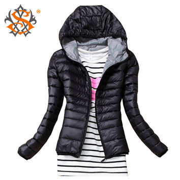 Autumn Winter Women Hooded Casual Basic Jacket