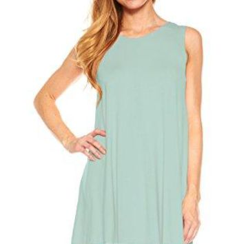 Womens Sleeveless A-Line Tank Top Tunic, Solid Basic Long Flowy Top (Seafoam-M)