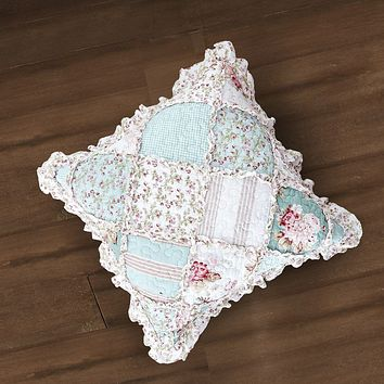 "DaDa Bedding Set of 2 Hint of Mint Floral Cotton Patchwork Ruffle Throw Pillow Covers, 18"" (JHW3036)"