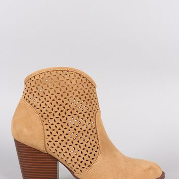 Qupid Perforated Suede Chunky Heeled Boots