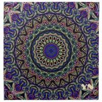 Dark Tapestry Kaleidoscope - set of four monogrammed napkins