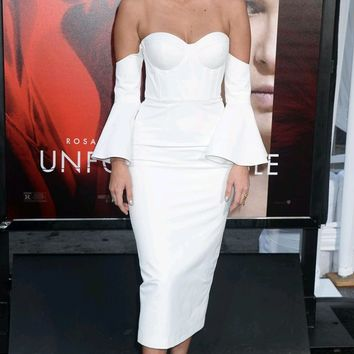 Power Player Sweetheart Neckline Long Flare Sleeve Off The Shoulder Bustier Bodycon Bandage Midi Dress - 2 Colors Available
