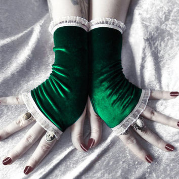 Evergreen Thicket Fingerless Gloves   Deep Hunter Midnight Forest Green Velvet White Ruffle Lace   Christmas Arm Warmers Holiday Winter Goth