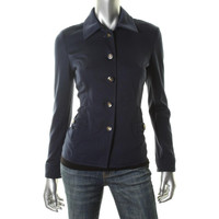 Charter Club Womens Ipanema Fitted Button Closure Jacket
