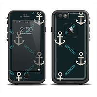 The Blue & Teal Vintage Solid Color Anchor Linked Apple iPhone 6/6s LifeProof Fre Case Skin Set