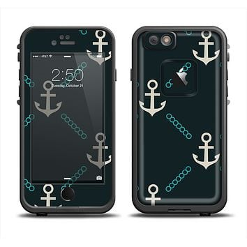 The Blue & Teal Vintage Solid Color Anchor Linked Apple iPhone 6 LifeProof Fre Case Skin Set