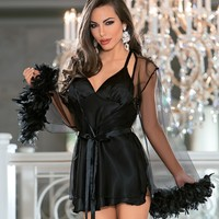 Sultry Satin Chemise & Feather Robe Set