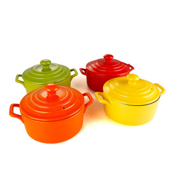 1.1L 4 Colors Enameled Casseroles Heat-resisting Microwave Ceramic Pot Lobscouse Saucepot Cocotte Ceramique Cookware