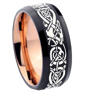 8mm Celtic Dragon Bevel Tungsten Carbide Rose Gold Men's Ring