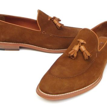 Paul Parkman (FREE Shipping) Men's Tassel Loafers Tobacco Suede Shoes (ID#087-TAB)