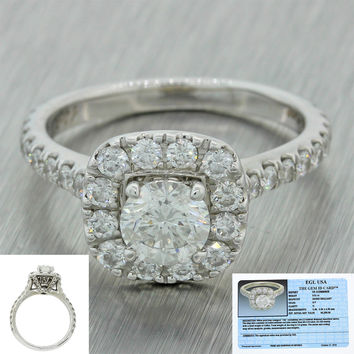 Neil Lane Modern 14k Solid White Gold 1.77ctw Diamond Engagement Ring EGL