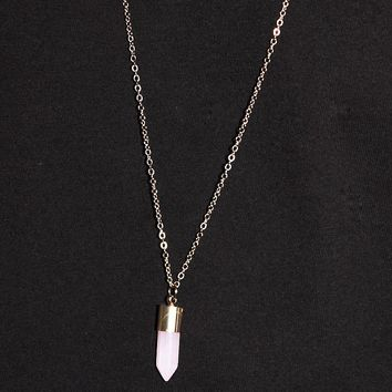 Crystal Long Necklace-Gold