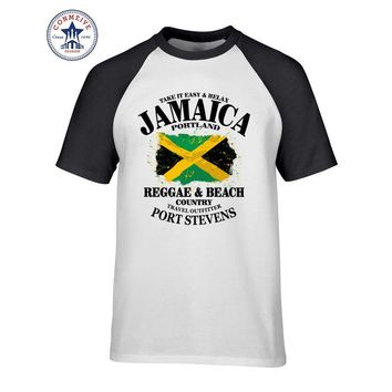 2017 Fashion New Gift Tee Round Collar Reggae & Beach Country Jamaica Portland Flag Funny Cotton T Shirt for men
