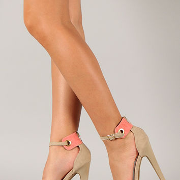 Shoe Republic Soriya Two Tone Open Toe Ankle Strap Heel