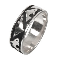 Dolphins Sterling Silver Ring