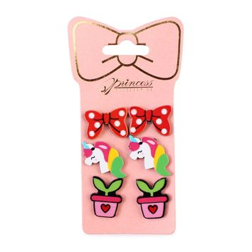 Multicolor Unicorn, Plant, Bow 3-Pair earring Set