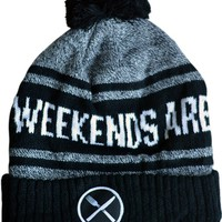 """Weekends are For Waffles"" Knit Pom Beanie by Pyknic (Black/Grey)"