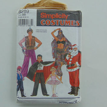 Simplicity Costumes 8289 Adult & Child Size S - L 2-12 Genie, Pirate, Ballerina and more