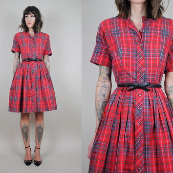 red PLAID vtg 50's cuffed day DRESS Scottish tartan cotton POCKET bombshell • small / xsmall