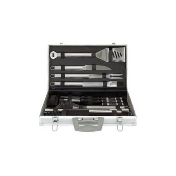 Mr. Bar-B-Q 30-Piece Tool Set with Aluminum Case includes: 4-in-1 spatula fork tongs basting brush knife 12 corn holders 6 skewers 4 steak knives grill brush 2 replacement heads and aluminum carrying case; Mirror polished.