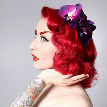 Rock Rockabilly Purple Double Rockabilly Pin Up Orchid hair flower comb fascinator