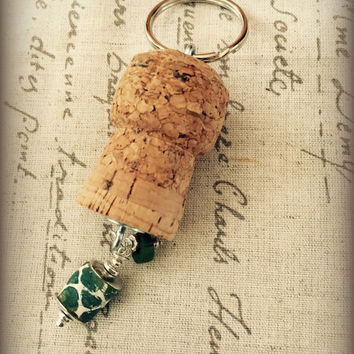 Wine Cork Keychain with Green and Blue Trade Beads