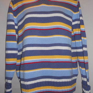 Vintage Cherokee Sweatshirt Horizontal Stripes Blue Yellow Red