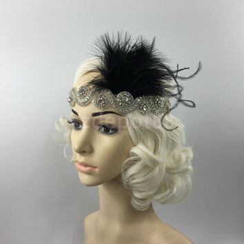 Great Gatsby 1920 Flapper Headpiece Crystal Bridal Black Feather Headband Day-First™