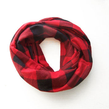 TODDLER Infinity Scarf, Flannel Plaid Toddler Scarf, Black and Red Buffalo Check Tartan Scarf, Boys Scarf